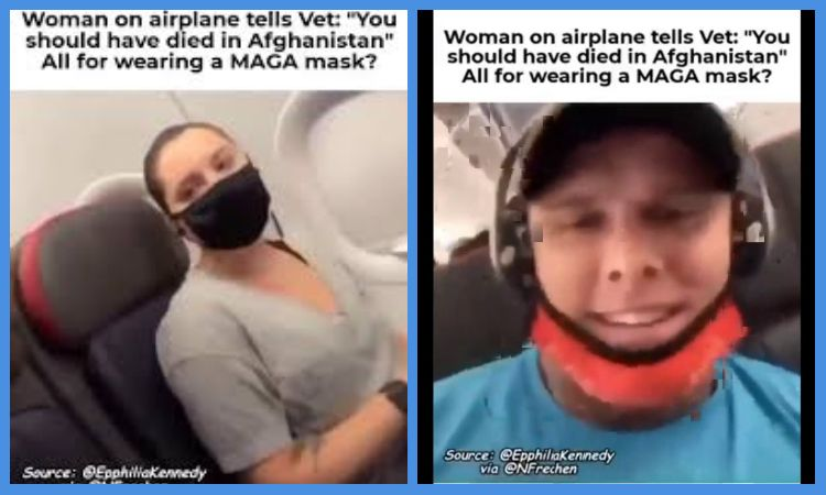 "Video: Woman On A PLANE TELLS VETERAN ""You Should have DIED in AFGHANISTAN"" Because He is Wearing a MAGA MASK"